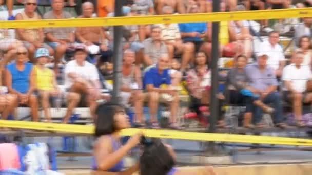 Beachvolleyball-Meisterschaft der Frauen in Thailand. Zeitlupe