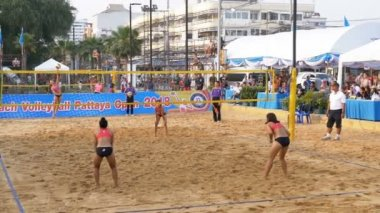 Womens Beach Volleyball Championship in Thailand. Slow Motion