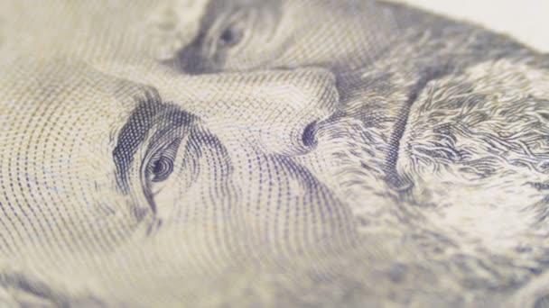 Pomalé otáčení portrét prezident Grant padesát dolarů Bill v makru