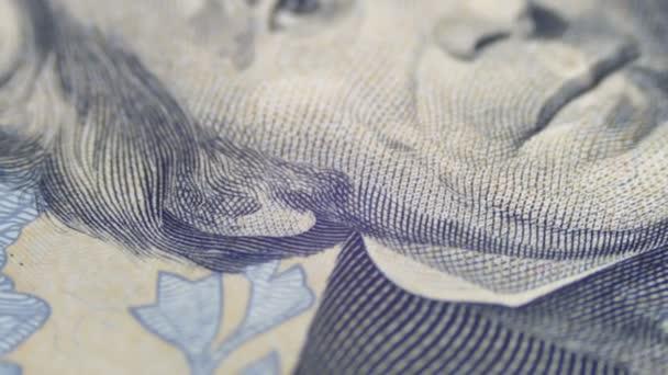 Pomalé otáčení portrét Andrew Jackson na dvacet dolarů Bill v makru