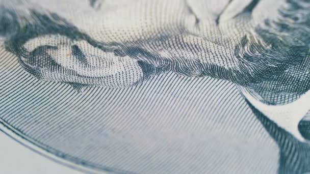 Pomalé otáčení Abraham Lincoln tvář na pět dolarovou bankovku