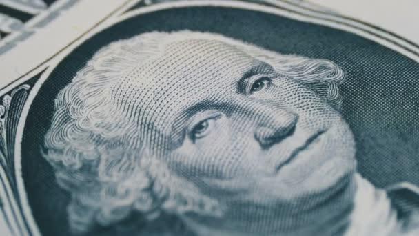 Slow Rotating George Washington Portrait on One Dollar Bill