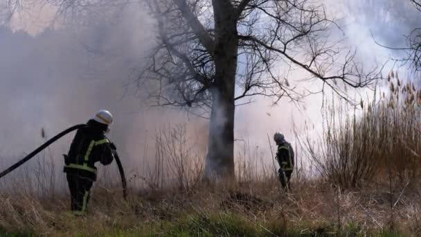 Dva hasiči v zařízení hasit lesní požár s požární hadicí. Pomalý pohyb