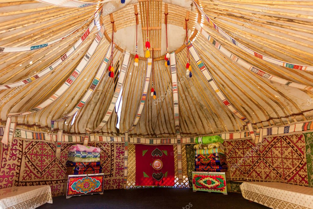 Yurt trip in Kazakhstan, the upper part of the Yurt inside view