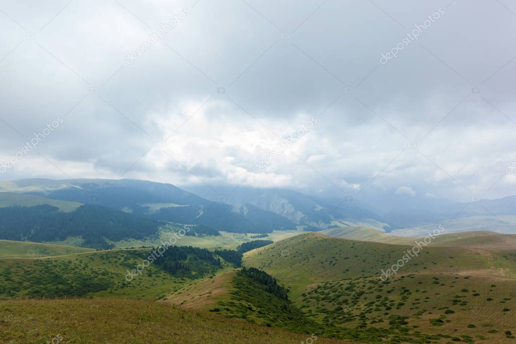 The mountain landscape of plateau of Assy is Kazakhstan