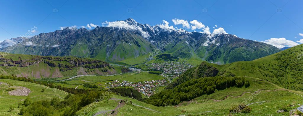 Village under the mountains of Kazbegi, Stepancminda,Sight of G
