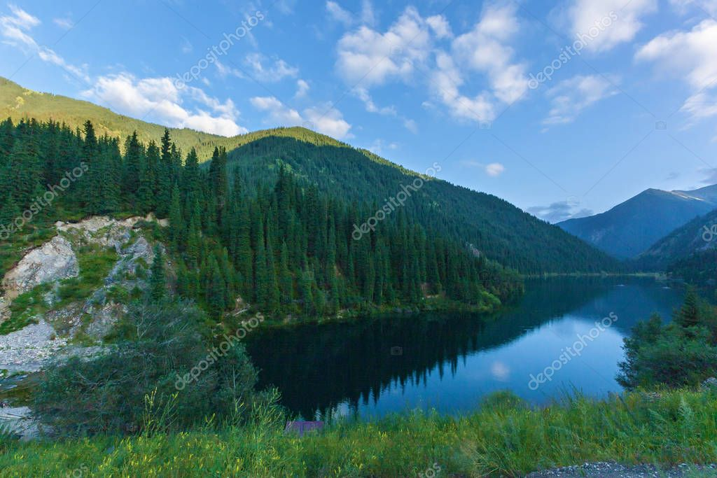 blue mountain lake in Kazakhstan
