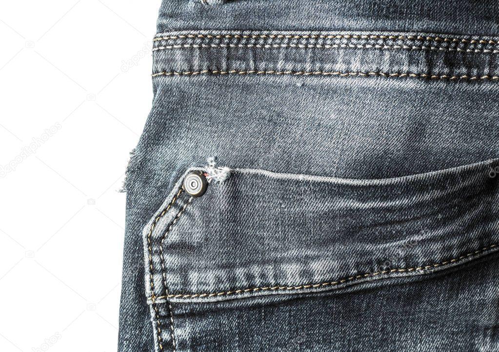 Zurück Tasche nähen blaue Jeans Vintage-Stil Nahaufnahme isoliert ...
