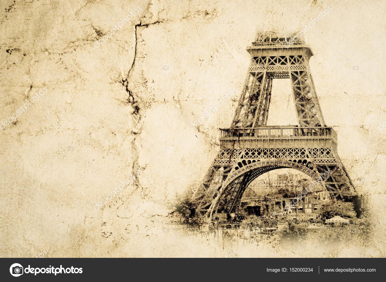 Torre Eiffel En París. Fondo De Vista Vintage. Foto