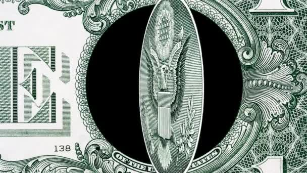 Creative 4k parallax video details of a 1 american dollar banknote with a rotating eagle close-up. One US dollar bill macro view.