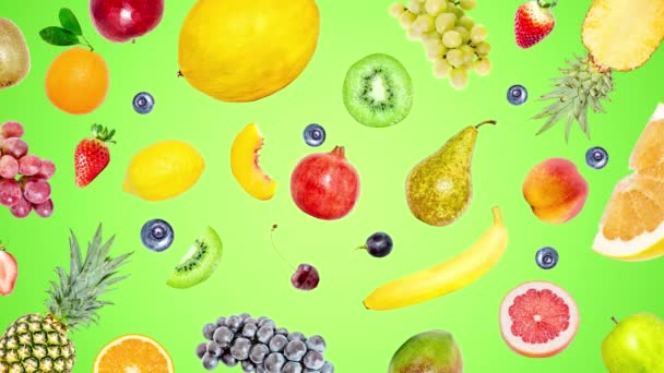 Creative 4k stop motion video animation of many different exotic tropical bright fruits that quickly appear on a light green summer background and disappear. View from above. Seamless loop.