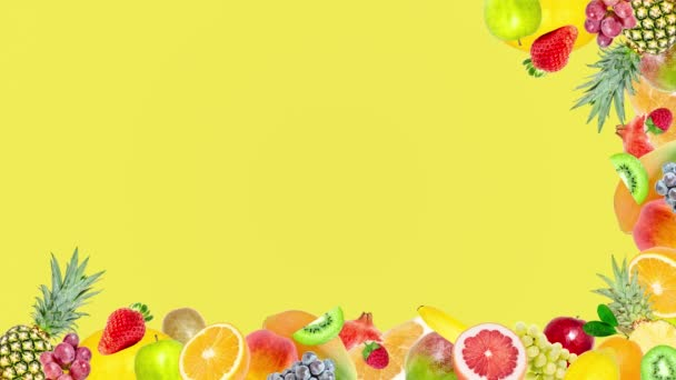 Creative 4k stop motion video animation of many different exotic tropical bright fruits frame quickly appearing and disappearing on a summer yellow background. Seamless loop.