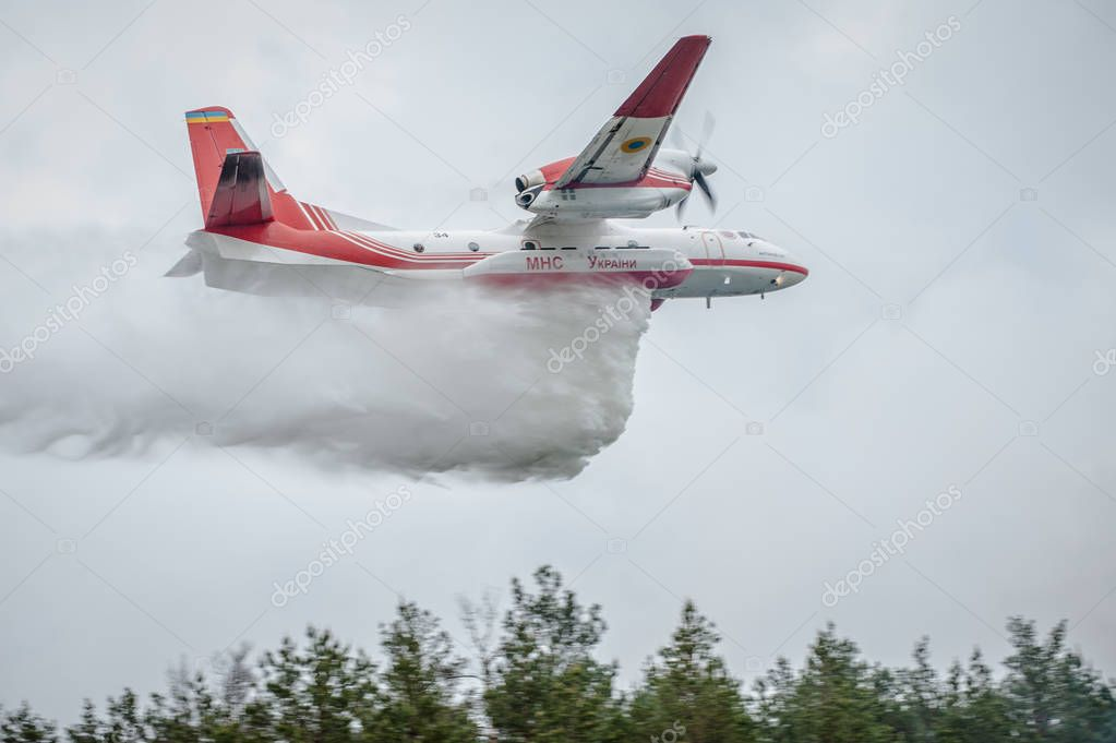 Firefighters trained to extinguish a burning forest