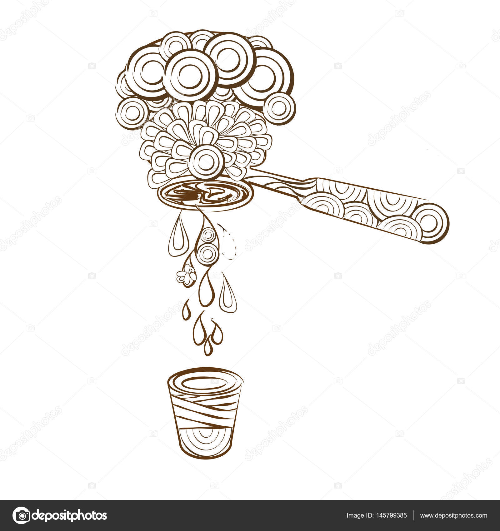 Line Art Design Coloring Page Coffee Machine Stock Vector