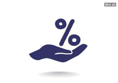 percentage on hand web icon