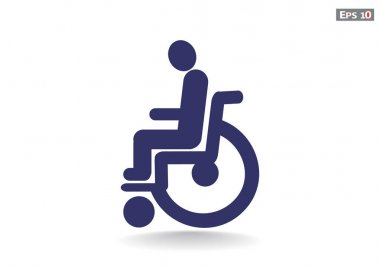 Disabled on wheelchair simple icon