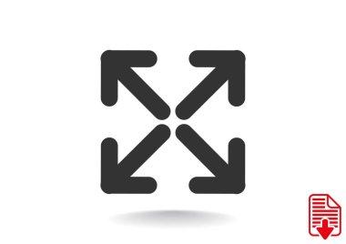 Four arrows in square icon
