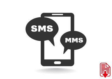 Smartphone with sms bubbles icon, simple outline vector illustration stock vector