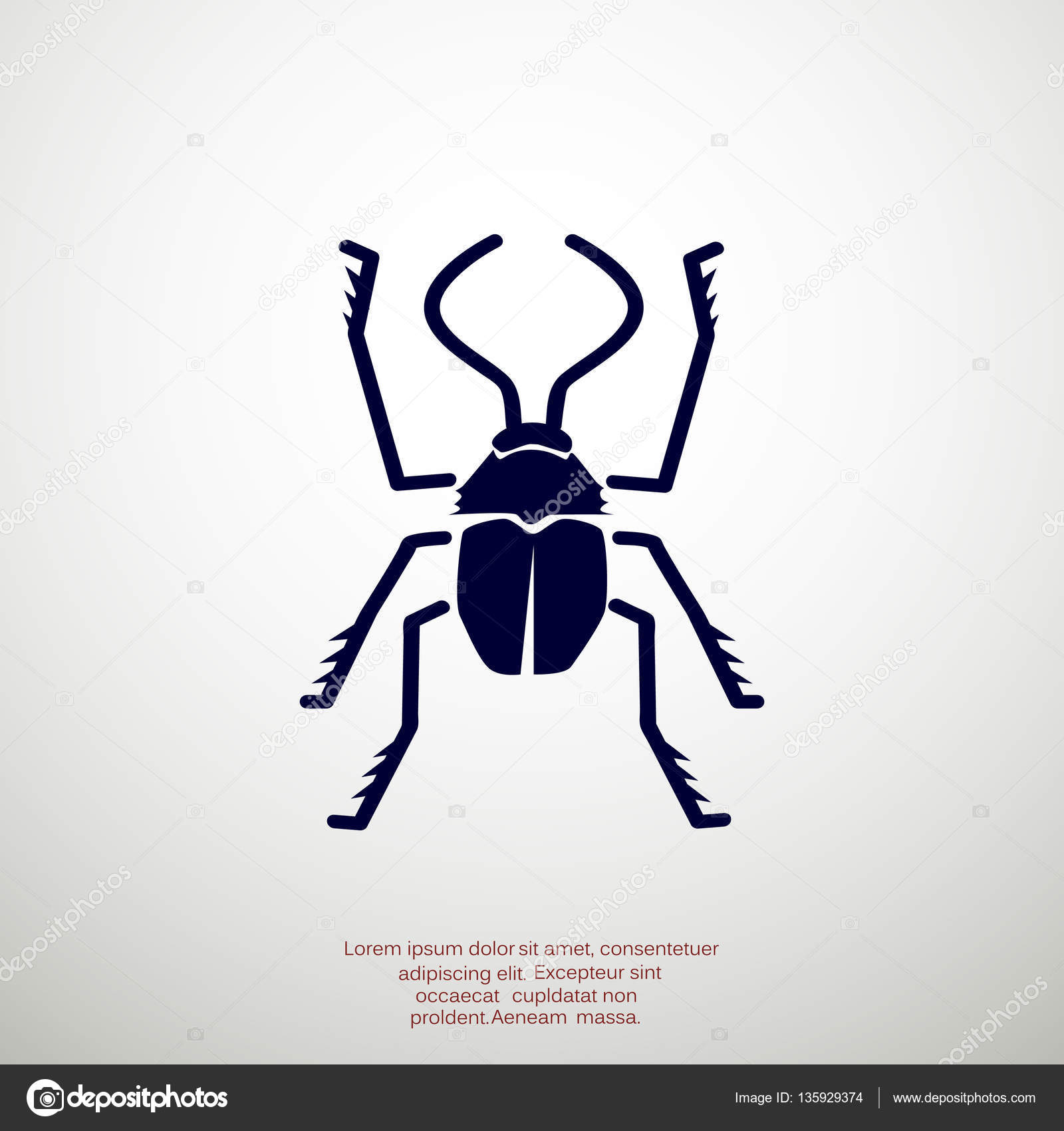 Bug Symbol With Outline Beetle Stock Vector Lovart 135929374