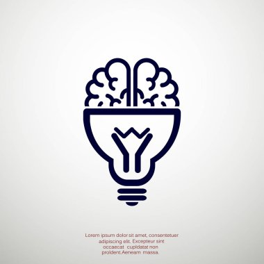 Brain with light bulb icon