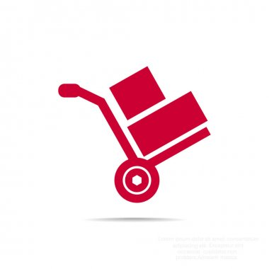 Wheelbarrow with boxes icon