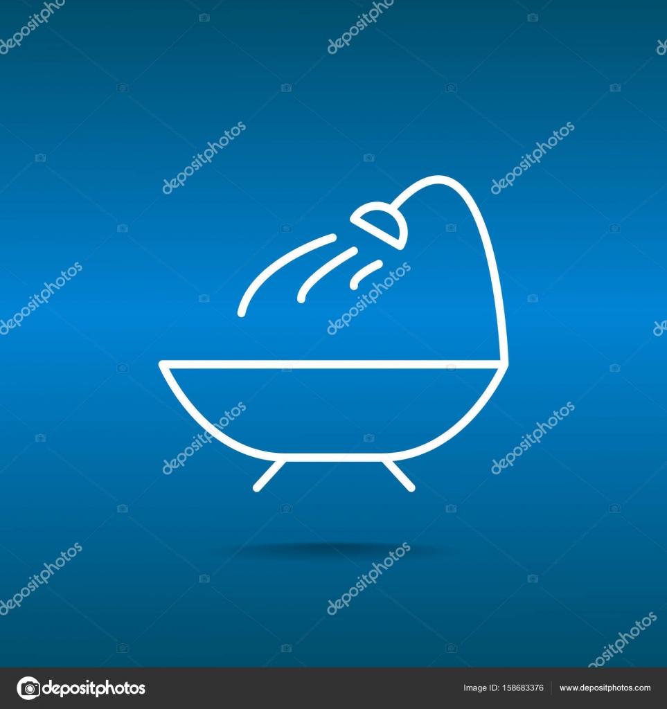 Bathtub with shower line — Stock Vector © LovArt #158683376