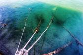 Rybářská loď lano na Kissamos přístavu, Kréta, Řecko