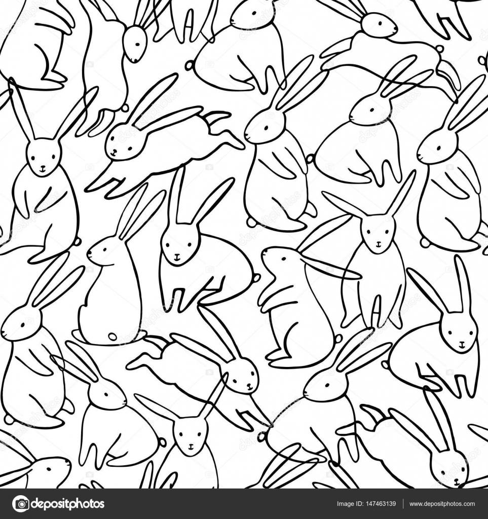 Patrón transparente de vector conejo — Vector de stock © nadyakr ...