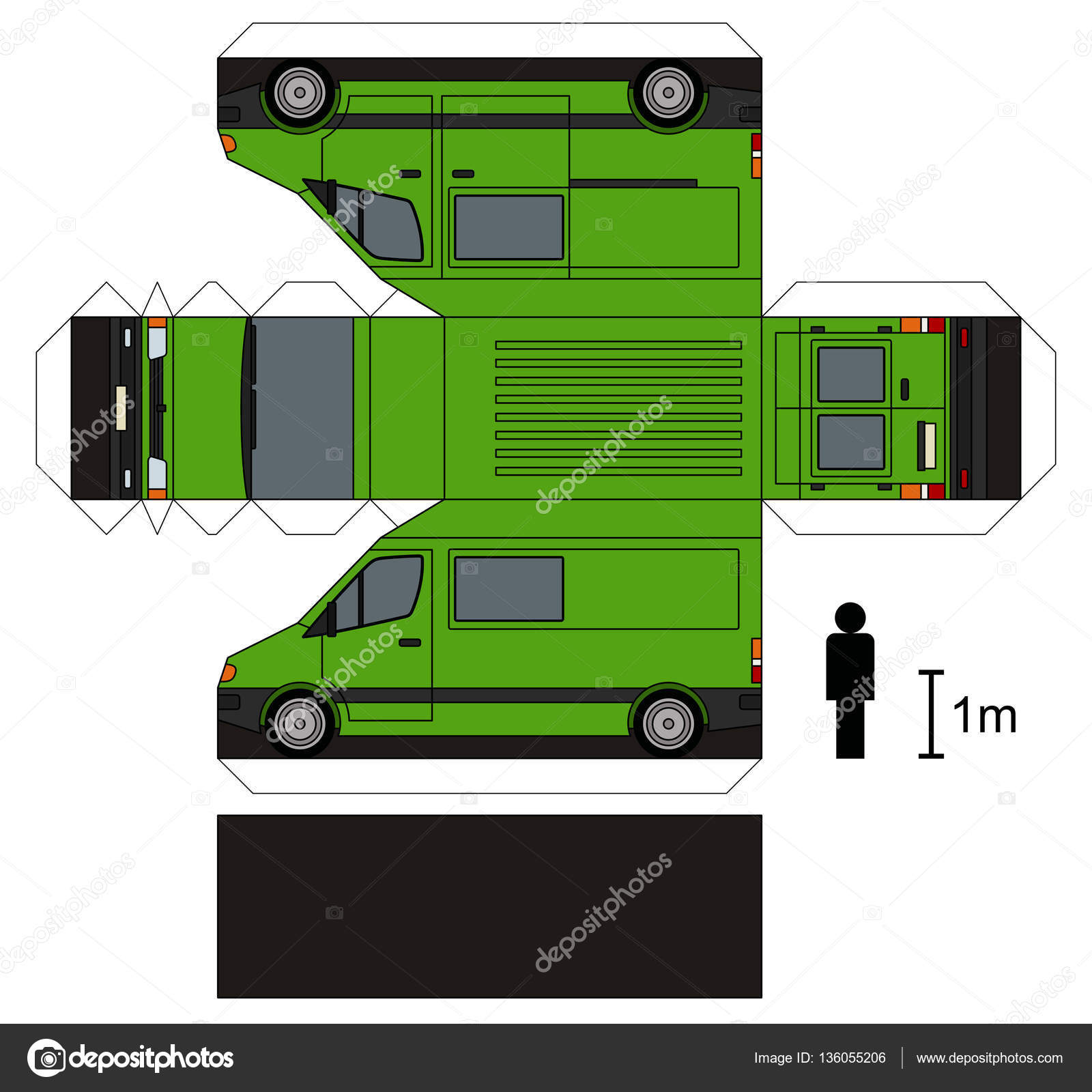 maquette en papier d une camionnette verte image vectorielle martin2015 136055206. Black Bedroom Furniture Sets. Home Design Ideas
