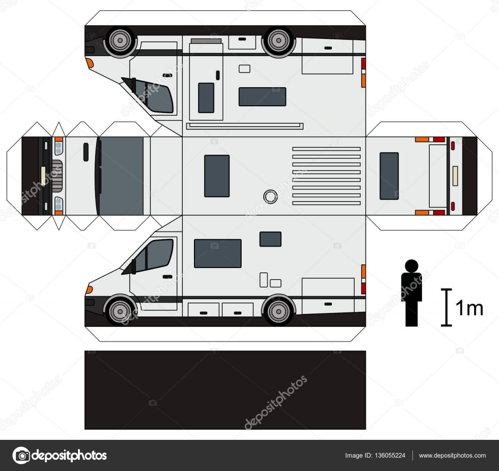 maquette en papier d une caravane image vectorielle martin2015 136055224. Black Bedroom Furniture Sets. Home Design Ideas