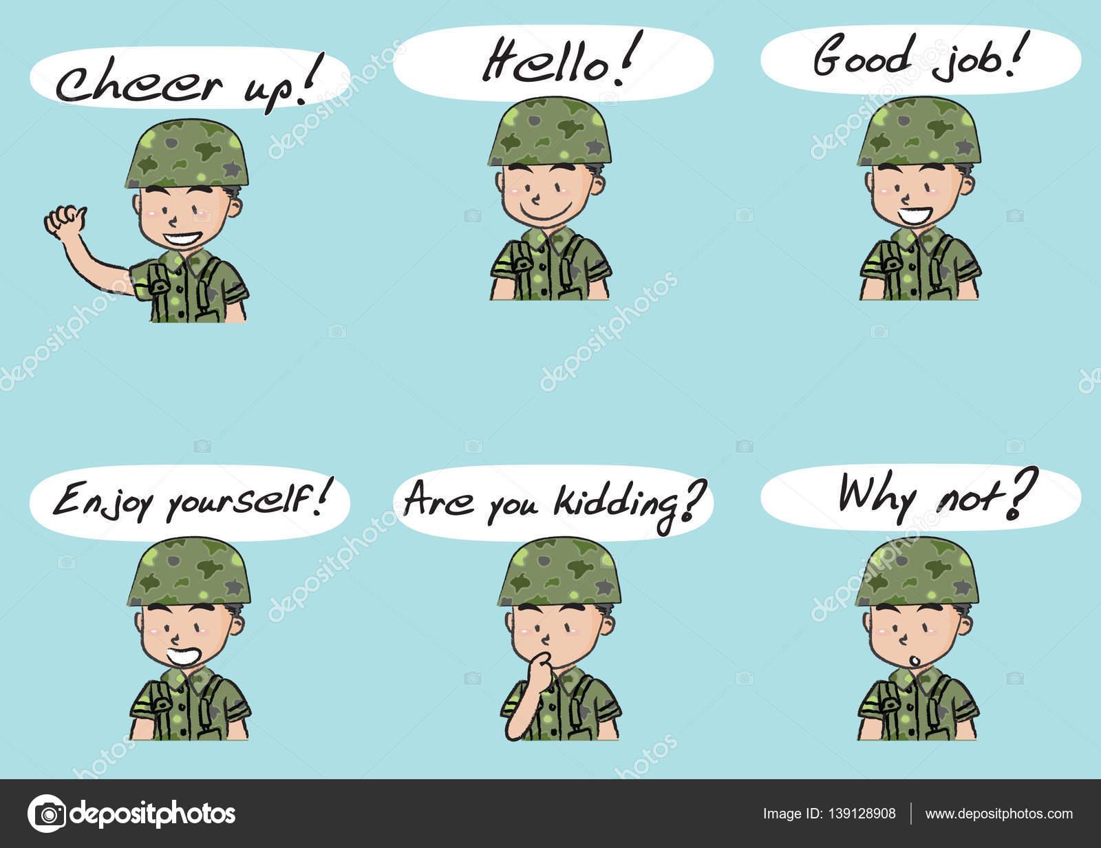 conjunto de ejército de dibujos animados — Fotos de Stock © wenpei ...