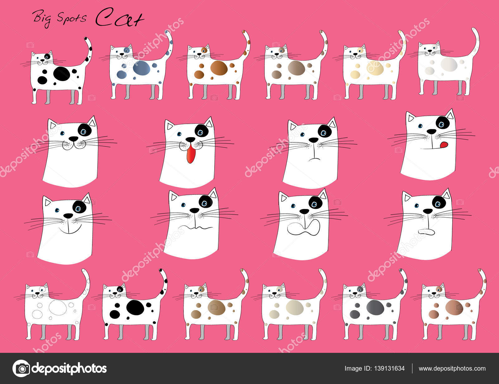 Drawing Cartoon Cat Face Stock Photo C Wenpei 139131634