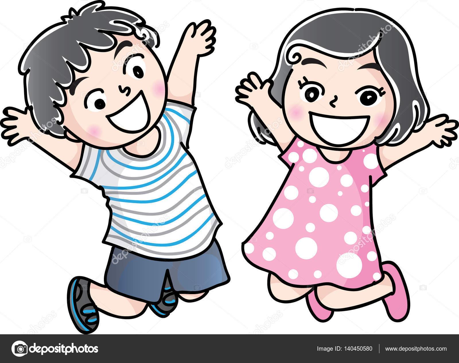 Dibujo De Niño Y Niña De Dibujos Animados