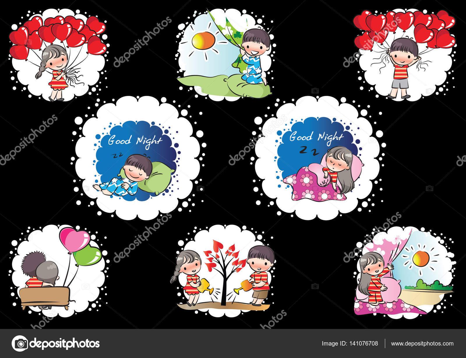 Valentyna Karty Kreslene Lover Stock Vektor C Wenpei 141076708