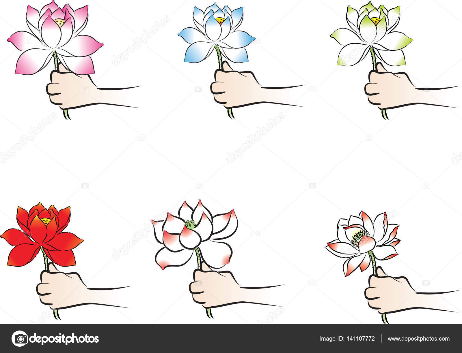 Vector Drawing Hand Holding Lotus Stock Vector C Wenpei 141107772