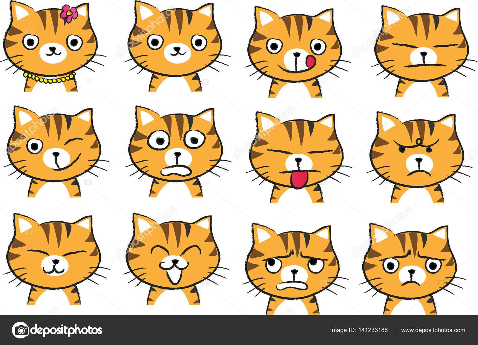conjunto de rosto de gato de desenho animado vetores de stock