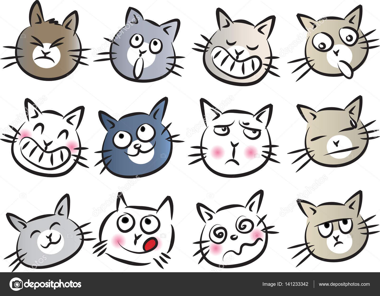 A Cartoon Cat Face Cartoon Cat Face Set Stock Vector C Wenpei