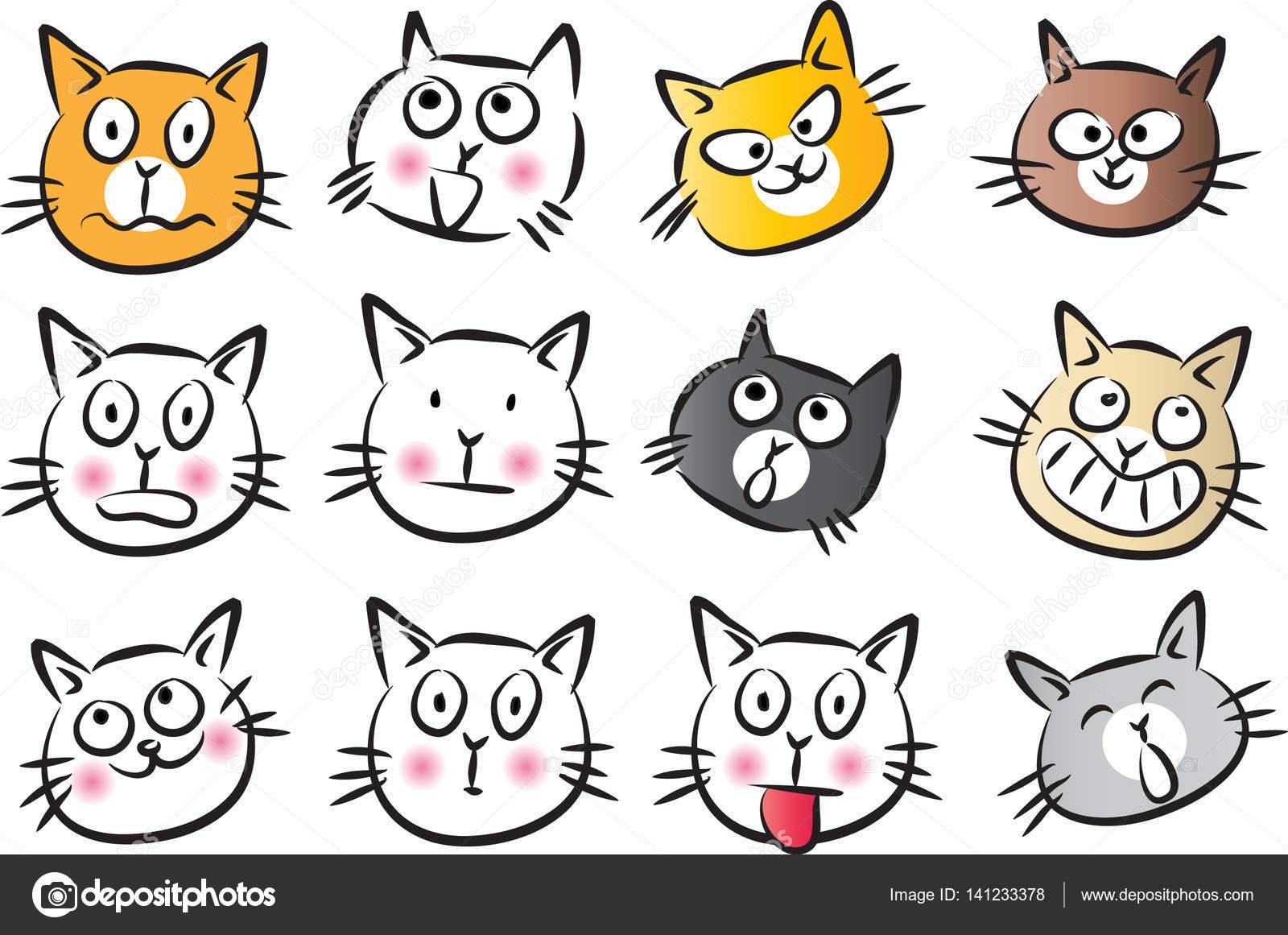 conjunto de rosto de gato de desenho animado vetor de stock