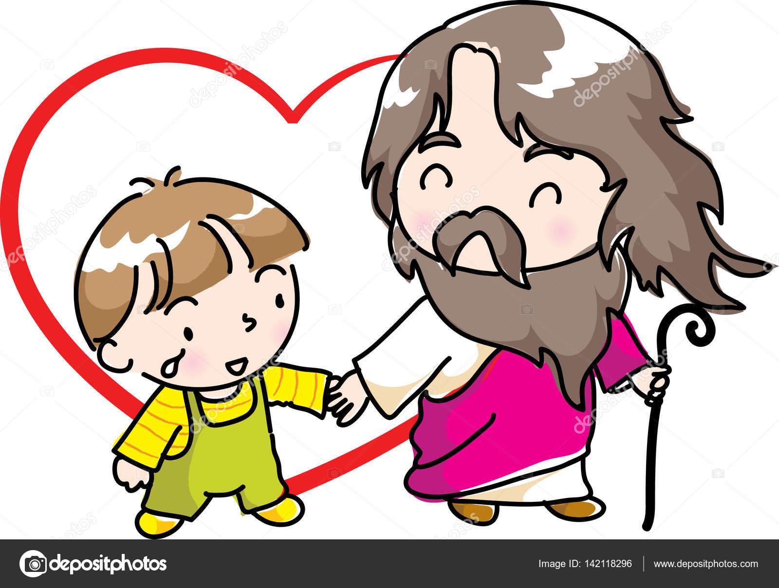 Imágenes Familia Animada Leyendo La Biblia Jesús Y Los Niños