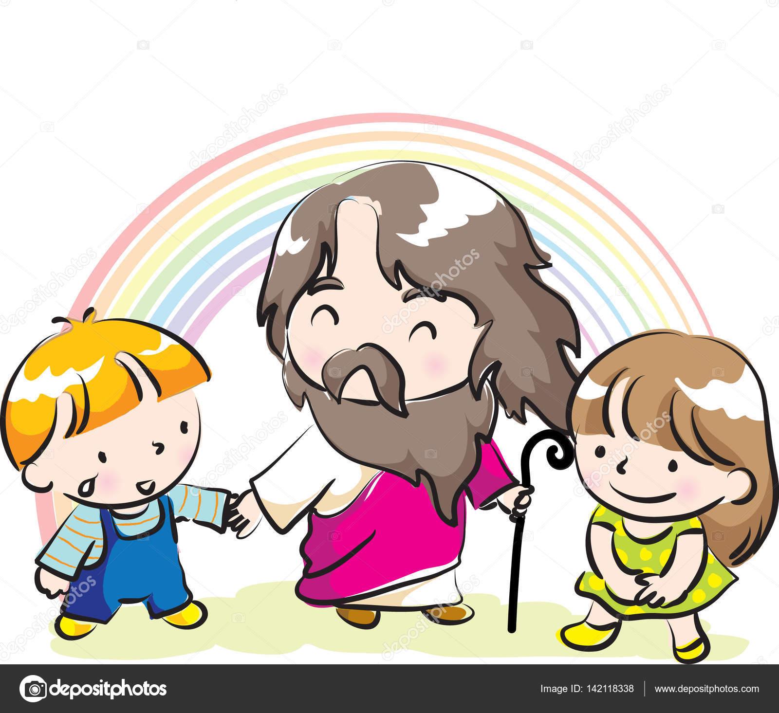 Familia Animada Leyendo La Biblia Jesús Y Los Niños Vector De