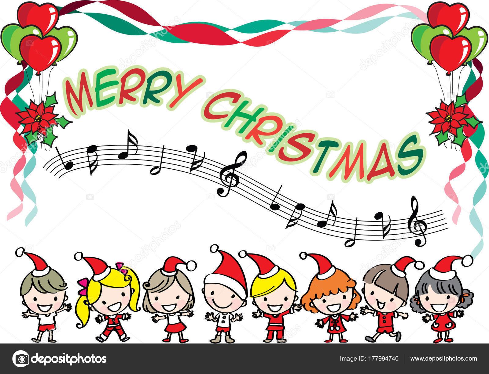 Chanson Un Joyeux Noel.Enfants Chantent Chanson Avec Joyeux Noel Image