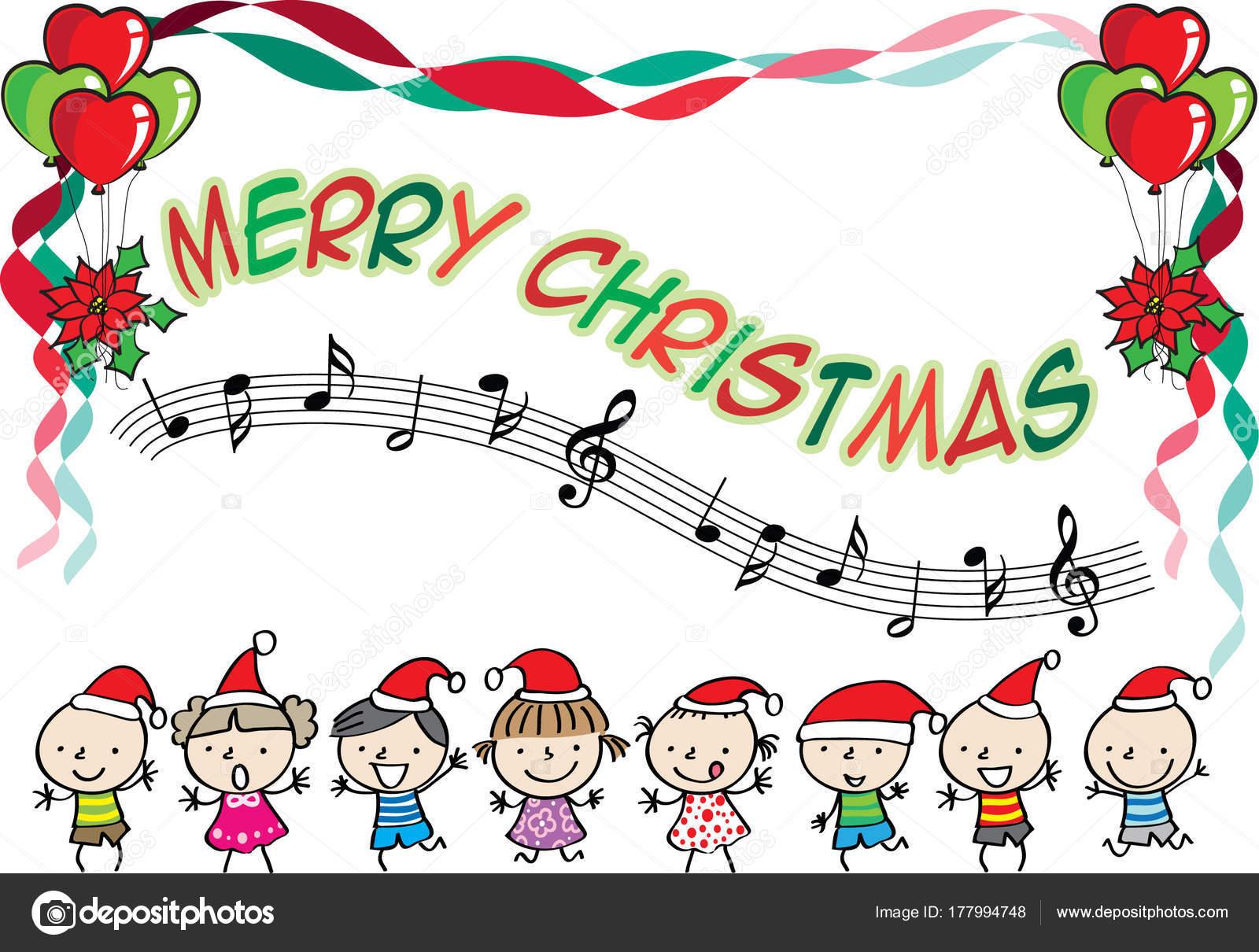 Chanson Joyeux Noel.Enfants Chantent Chanson Avec Joyeux Noel Image