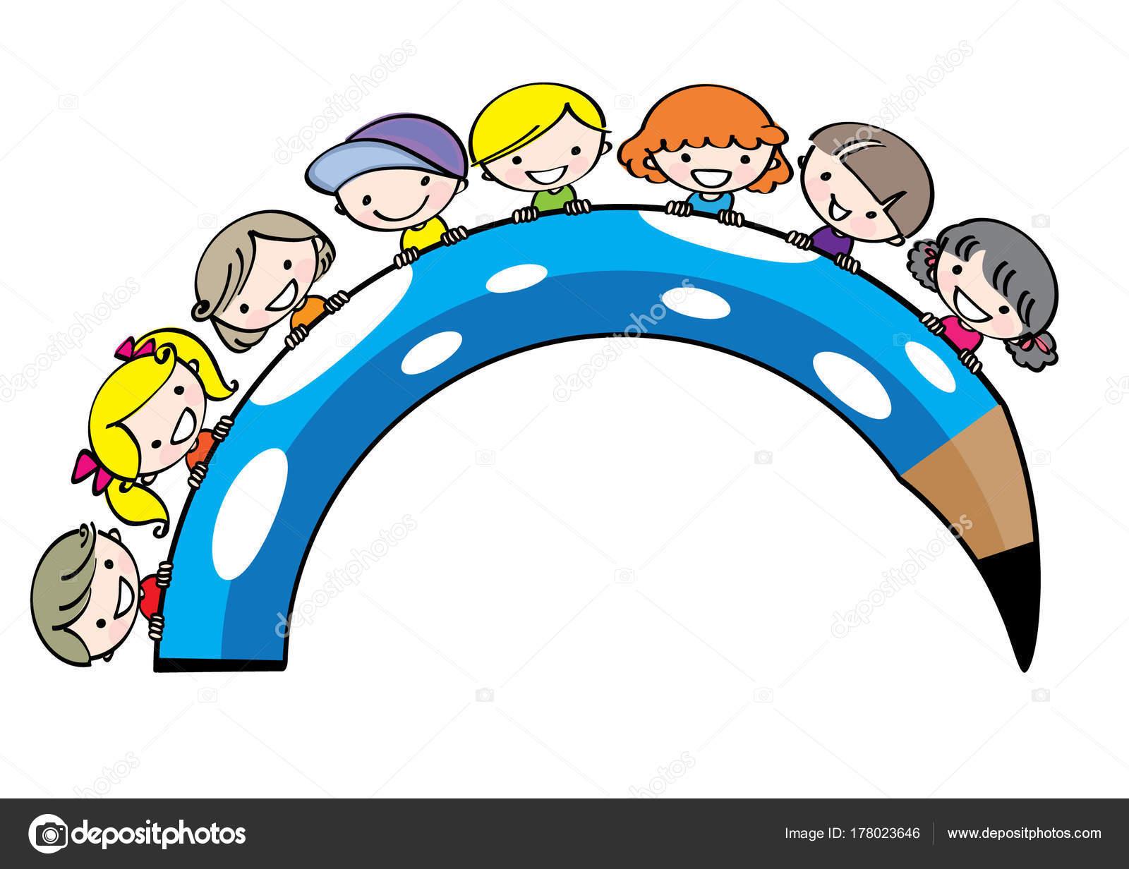 Vecteur Dessin Enfants Dessin Anime Avec Crayon Couleur Image