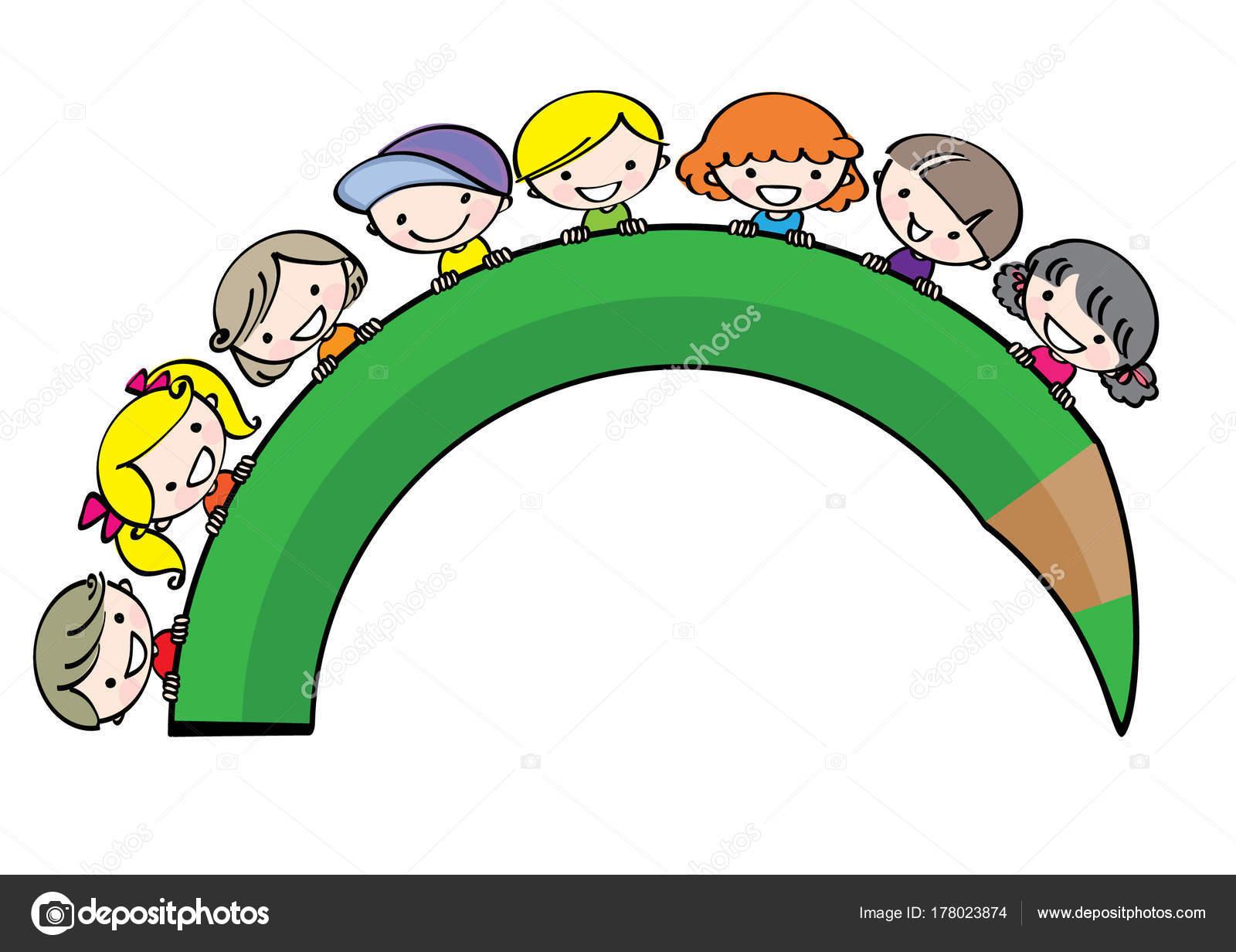 Vector Drawing Cartoon Kids Color Pencil — Stock Vector © wenpei ...