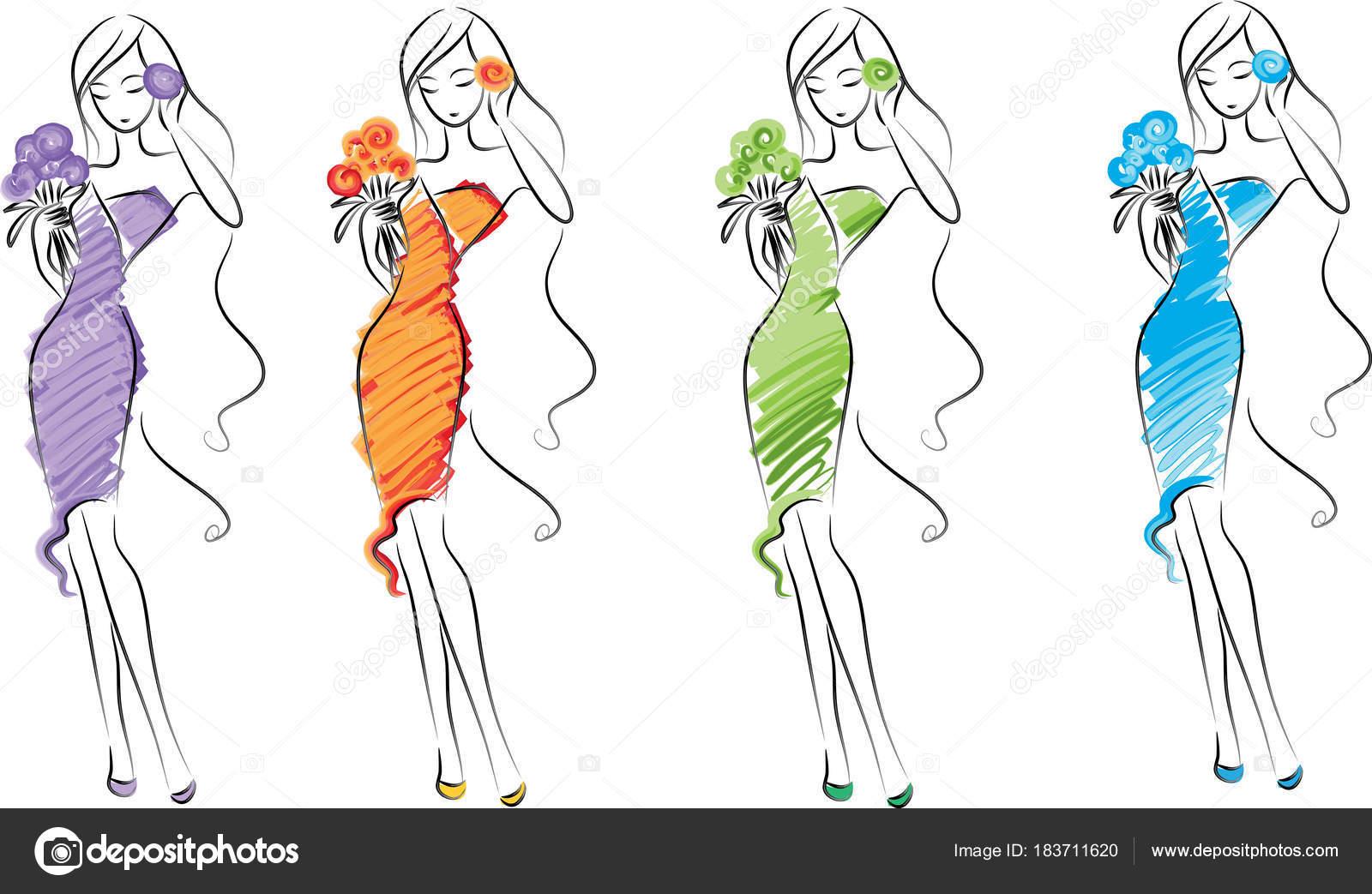 Dibujos Diseños De Moda Vector Moda Belleza Dibujo Diseño
