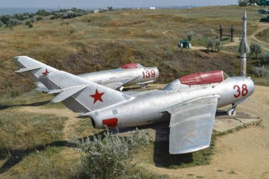 Museum copy of the aircraft. Monument of fighter aircraft. Military Hill Museum.