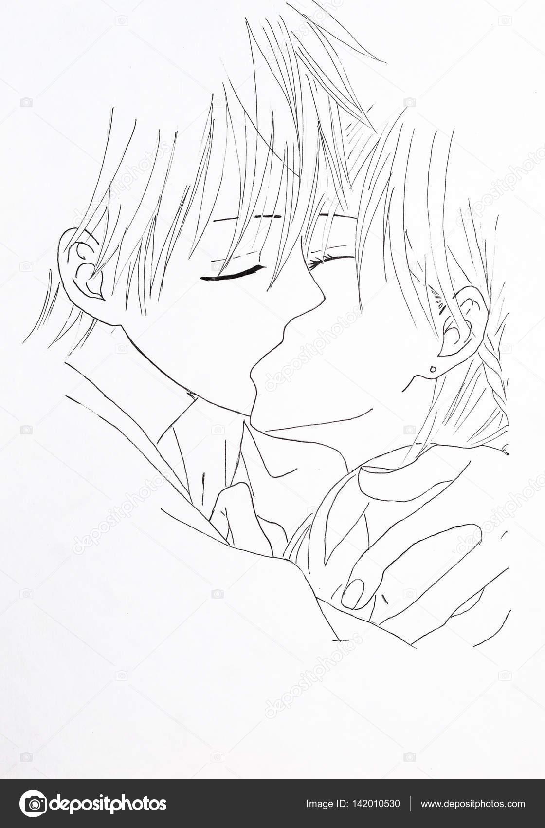 Dibujo Del Estilo De Anime Imagen Enamorada Chica Y El Chico De La
