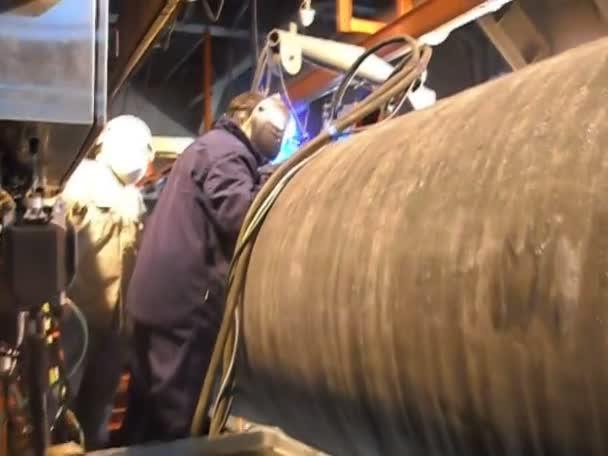 Plasma welding with a special welding machine. Welding underwater pipeline.