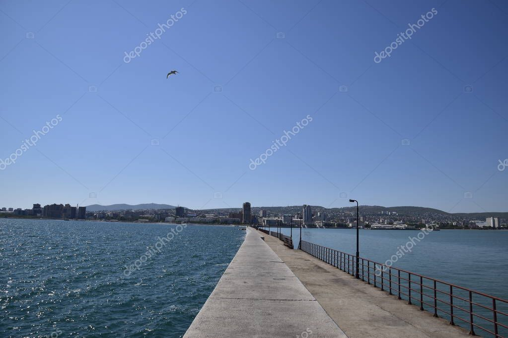 marina and quay of Novorossiysk. Urban landscape of the port city.