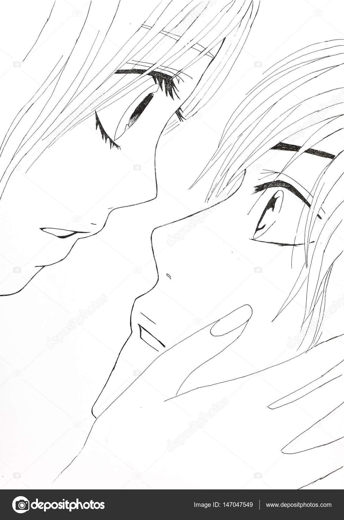 Dessin Dans Le Style De L Anime Image Amoureux Fille Et Le